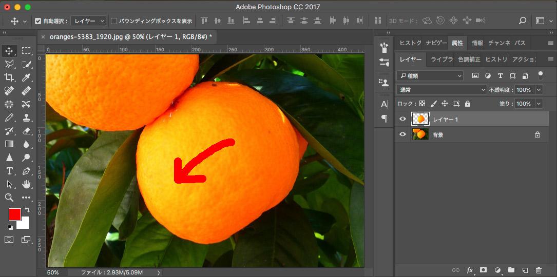 Photoshopブラシツール作業途中