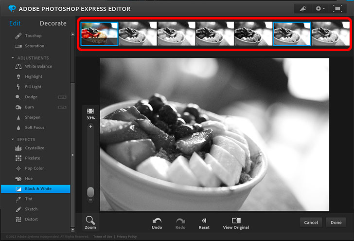 Photoshop Express Editor(Photoshop Online)の使い方