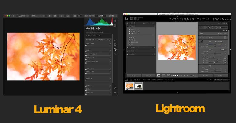 Luminar 4(ルミナー)とLightroomを比較
