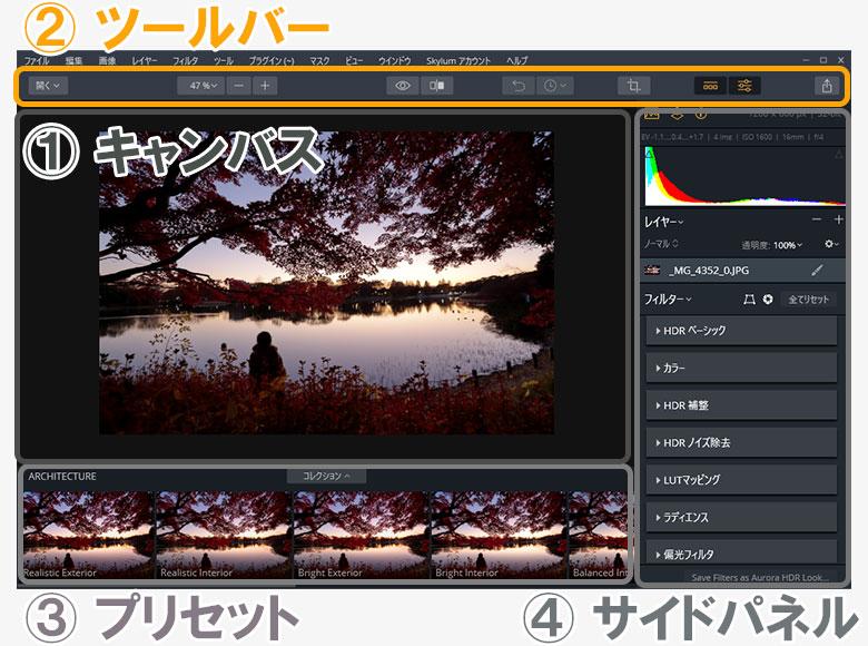 Aurora HDR 2019の画面の見方