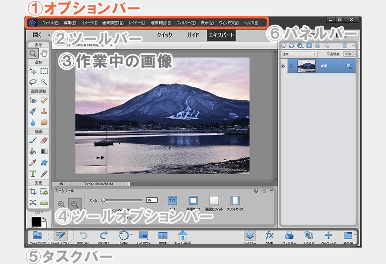 Photoshop Elements(フォトショップ エレメンツ)の画面構成