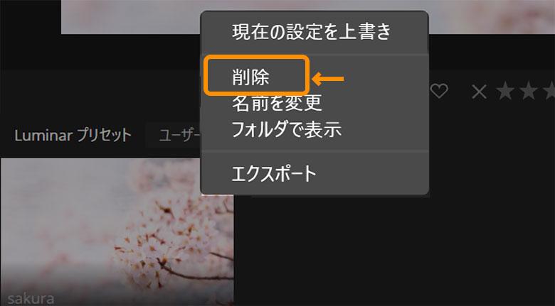 Luminar 4Looks(プリセット)削除方法