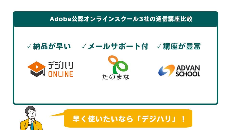 Adobe公認オンラインスクールの通信講座3社比較